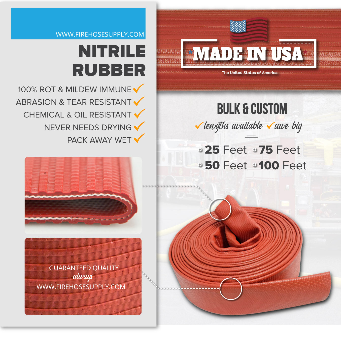 3 Inch Uncoupled Rubber Fire Hose Only No Connectors Red Nitrile 300 PSI