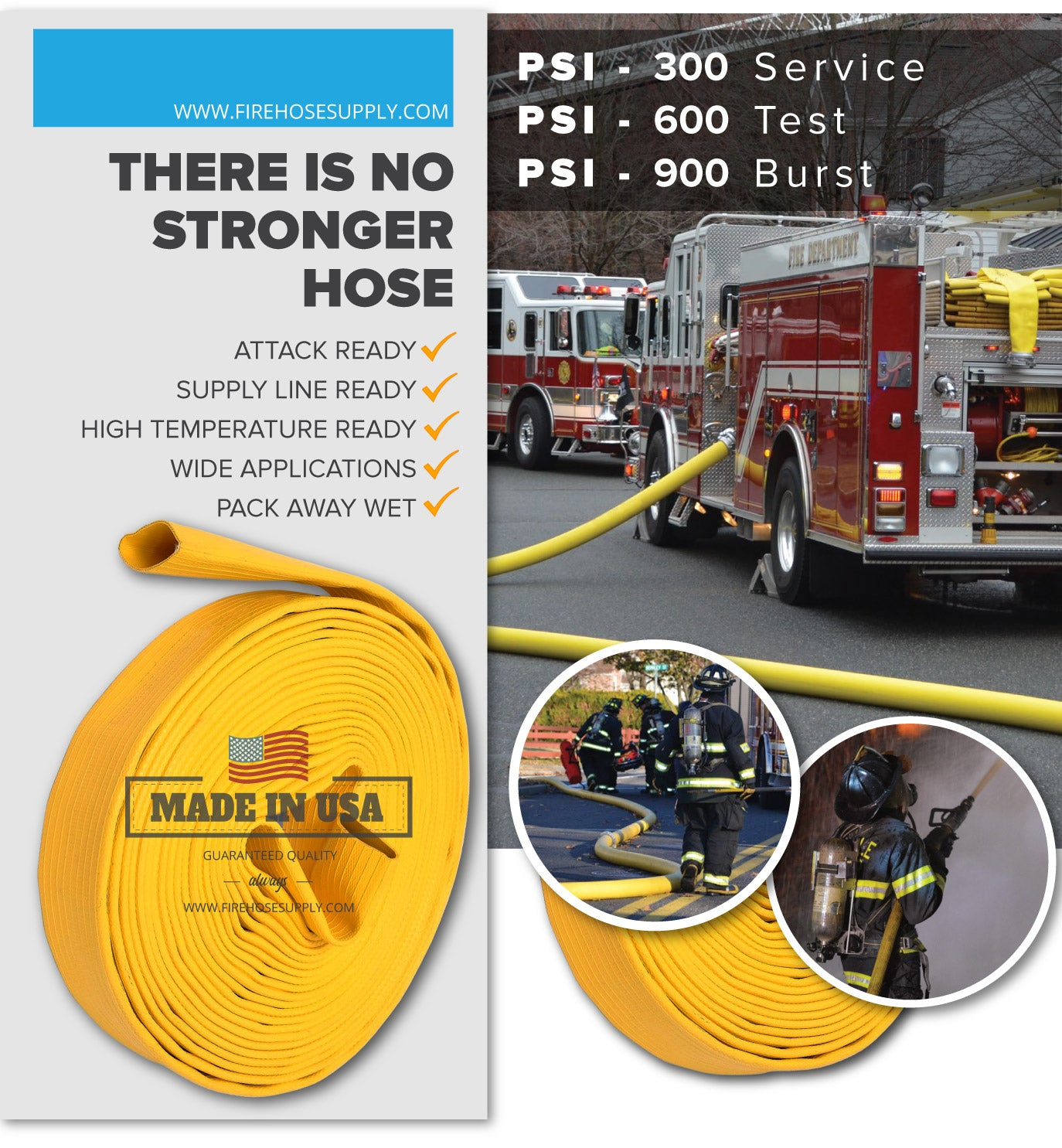 3 Inch Rubber Fire Hose Material Only Supply And Attack Ready Firefighter Yellow 600 PSI Test