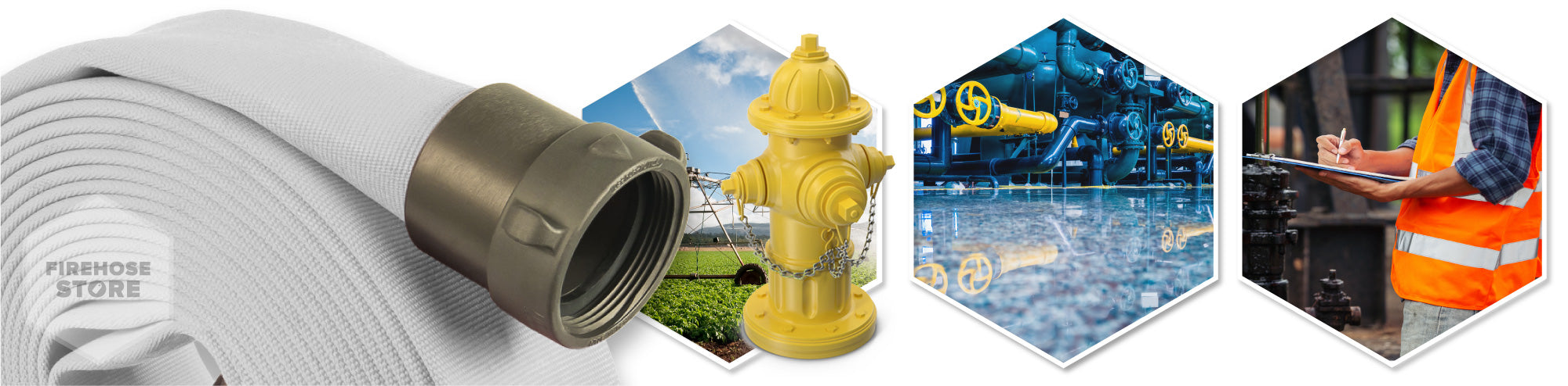 4 Inch x 25 Feet Fire Hydrant Hose Graphic Overview