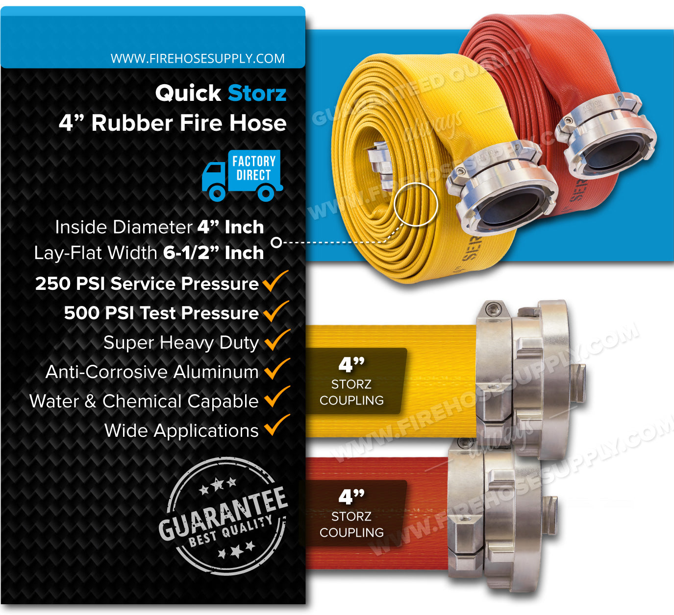 4 Inch Fire Hose Rubber Storz Yellow Red Overview
