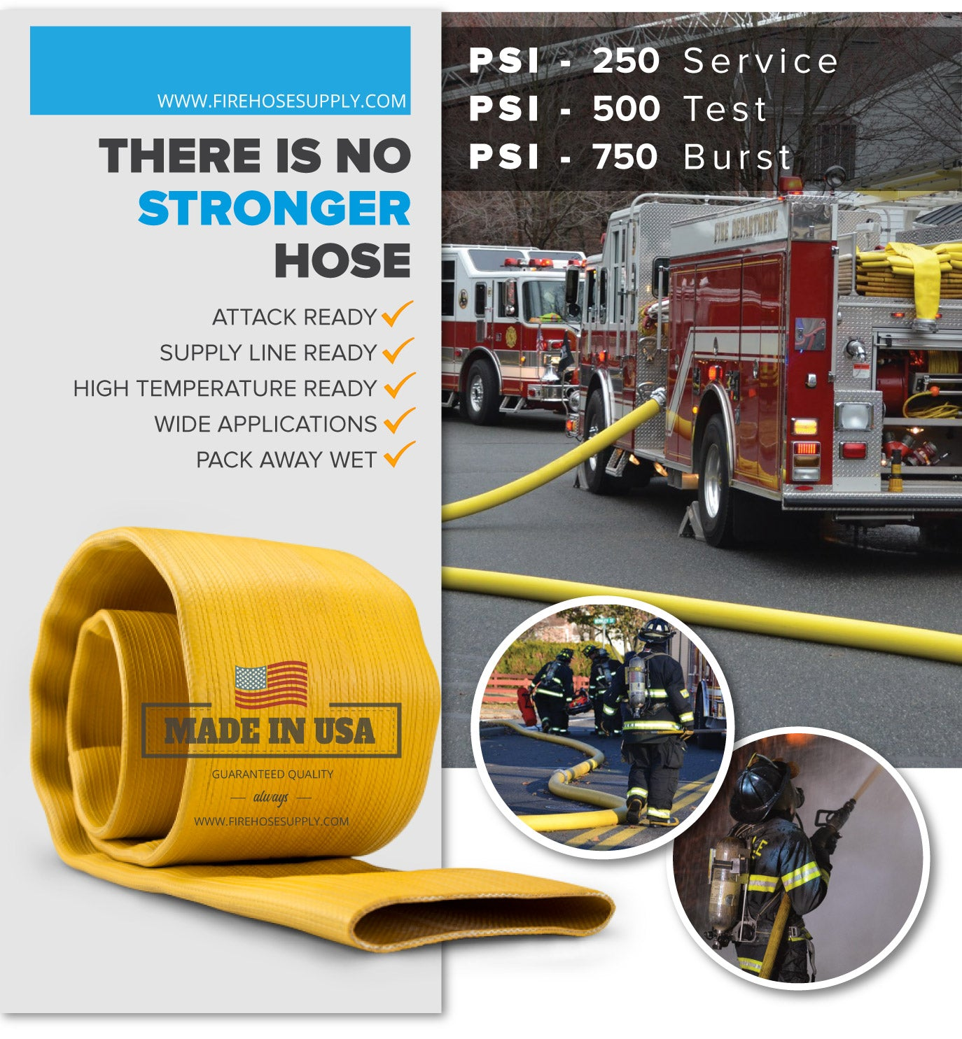 4 Inch Rubber Fire Hose Material Only Supply And Attack Ready Firefighter Yellow 500 PSI Test