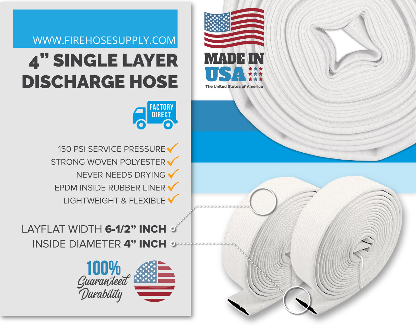 4 Inch Woven Single Layer Discharge Hoses Material White No Fittings