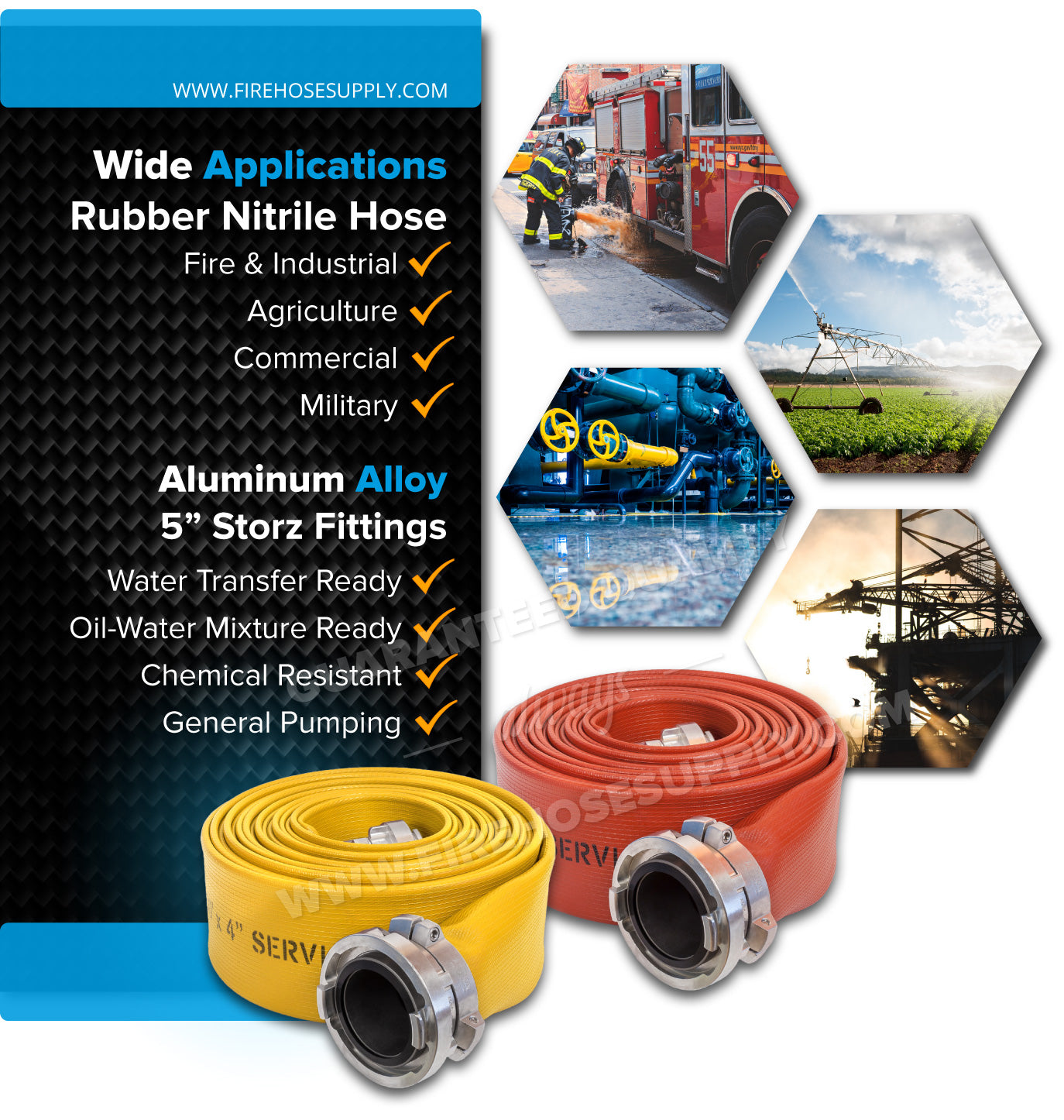 5 Inch Fire Hose Rubber Storz Industrial Applications