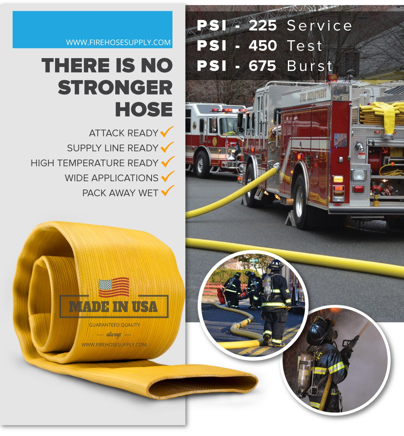 5 Inch Rubber Fire Hose Material Only Supply Ready Firefighter Yellow 450 PSI Test