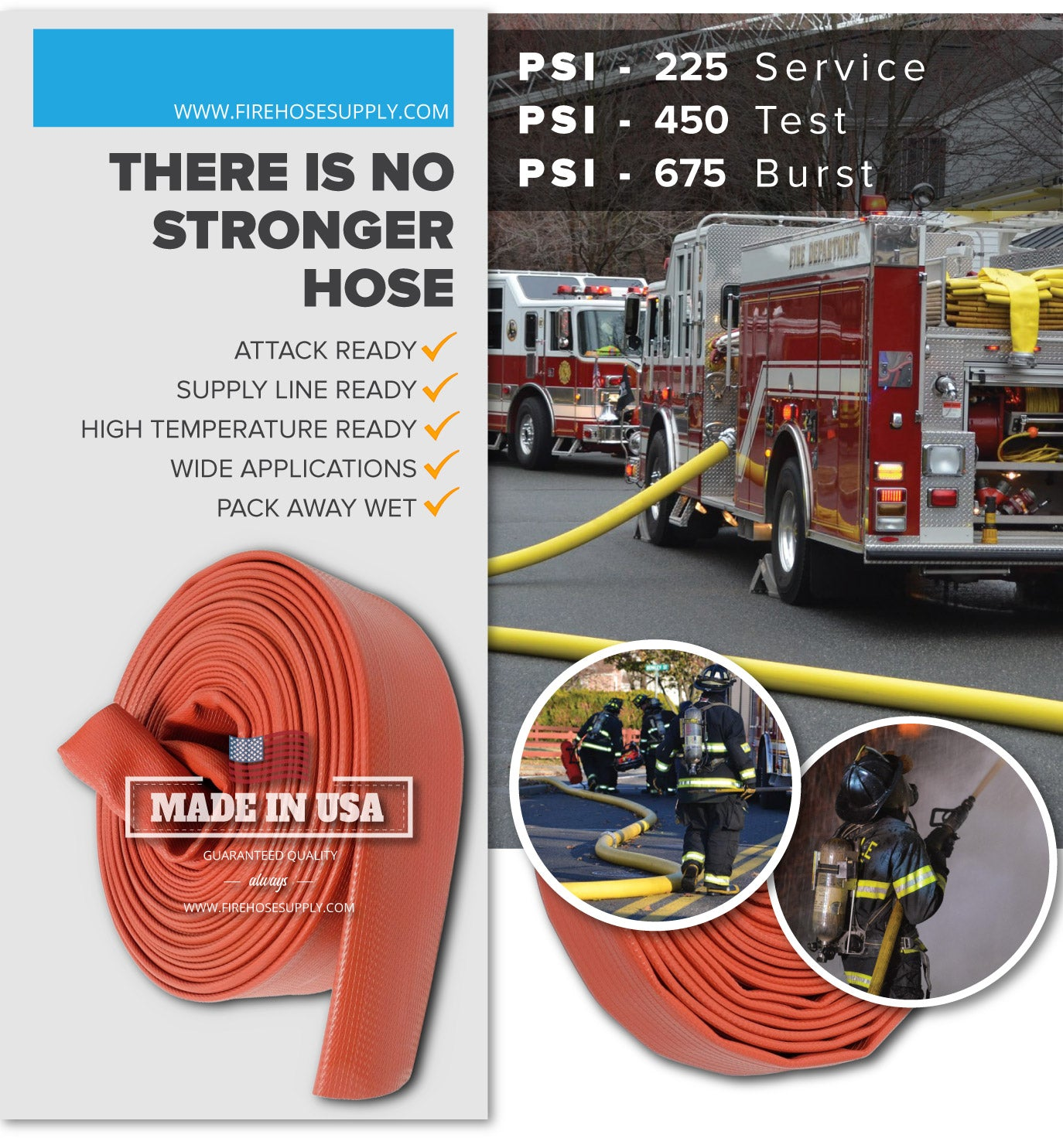 5 Inch Rubber Fire Hose Material Only Supply And Attack Ready Firefighter Red 675 PSI Test