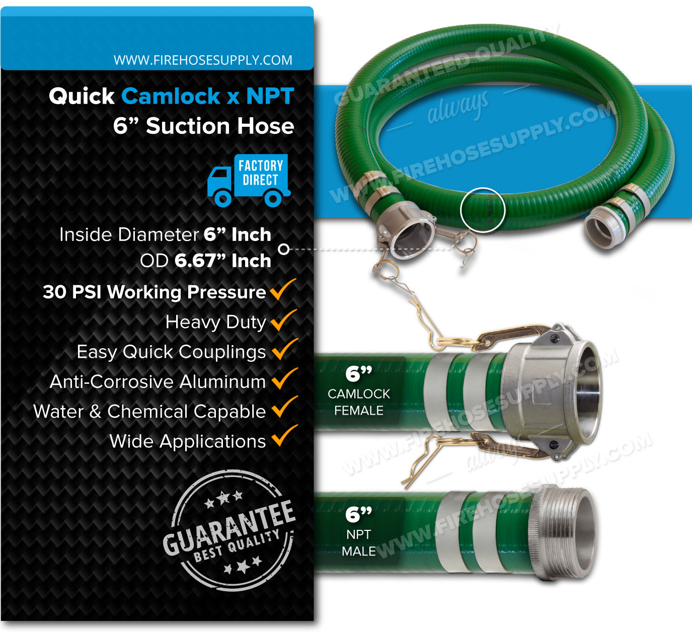 6 Inch Camlock Female x NPT Male Green Suction Hose Overview