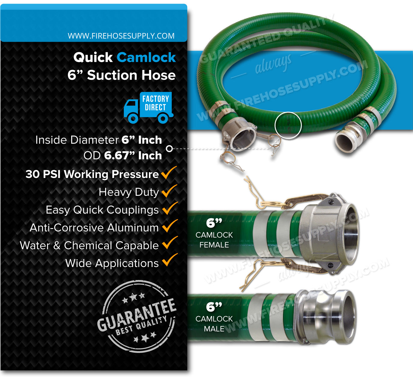 6 Inch Camlock Female x Male Green Suction Hose Overview