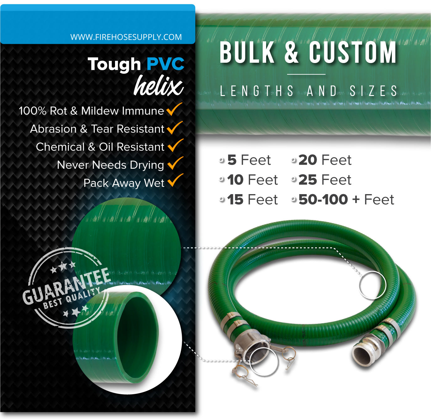 6 Inch Camlock Female x Male Green Suction Hose PVC Materials