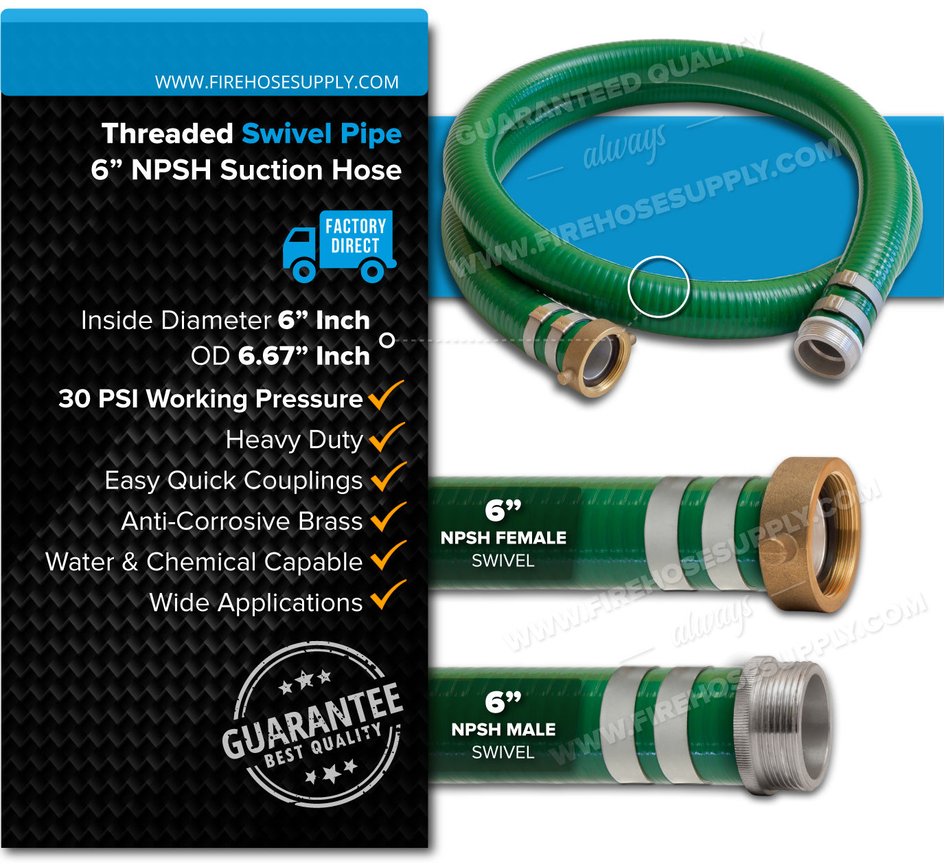 6 Inch Threaded Female x Male Green Suction Hose Overview