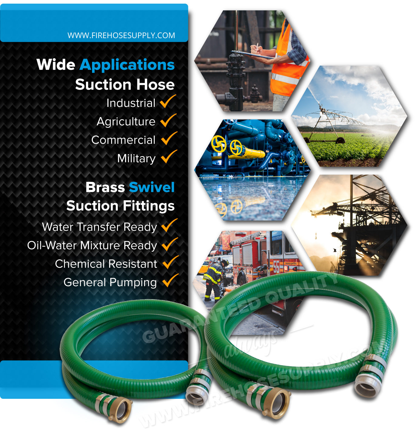 6 Inch Threaded Female x Male Green Suction Hose Wide Applications
