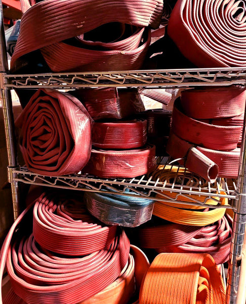 old red scrap hose rubber material