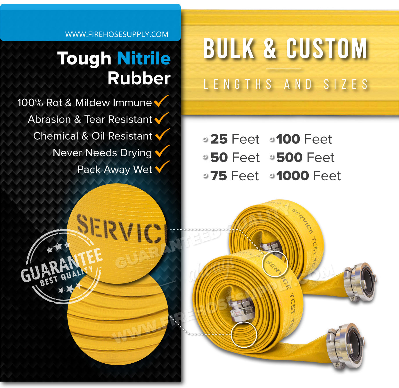 6 Inch Fire Hose Rubber Durable Nitrile Material