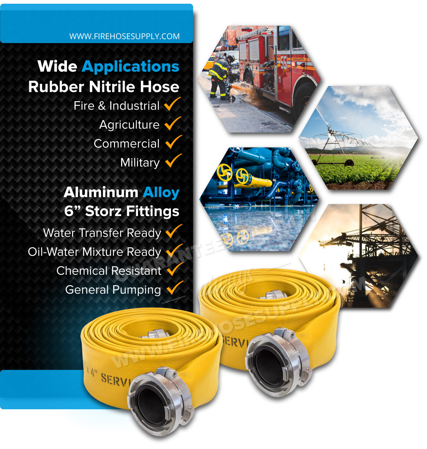 6 Inch Fire Hose Rubber Storz Industrial Applications