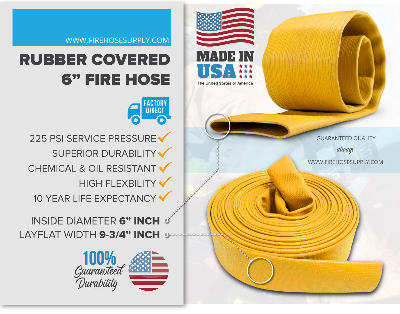 6 Inch Rubber Fire Hose Material Yellow No Fittings 225 PSI