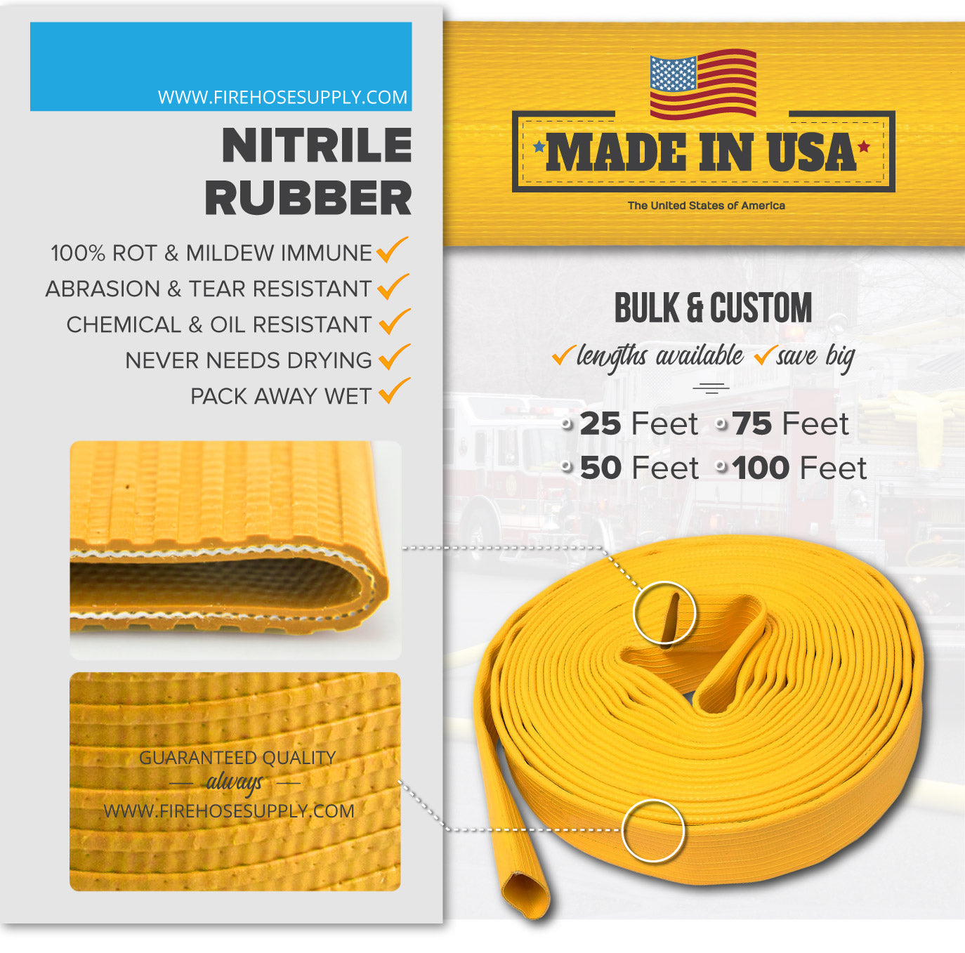 6 Inch Uncoupled Rubber Fire Hose Only No Connectors Yellow Nitrile 225 PSI