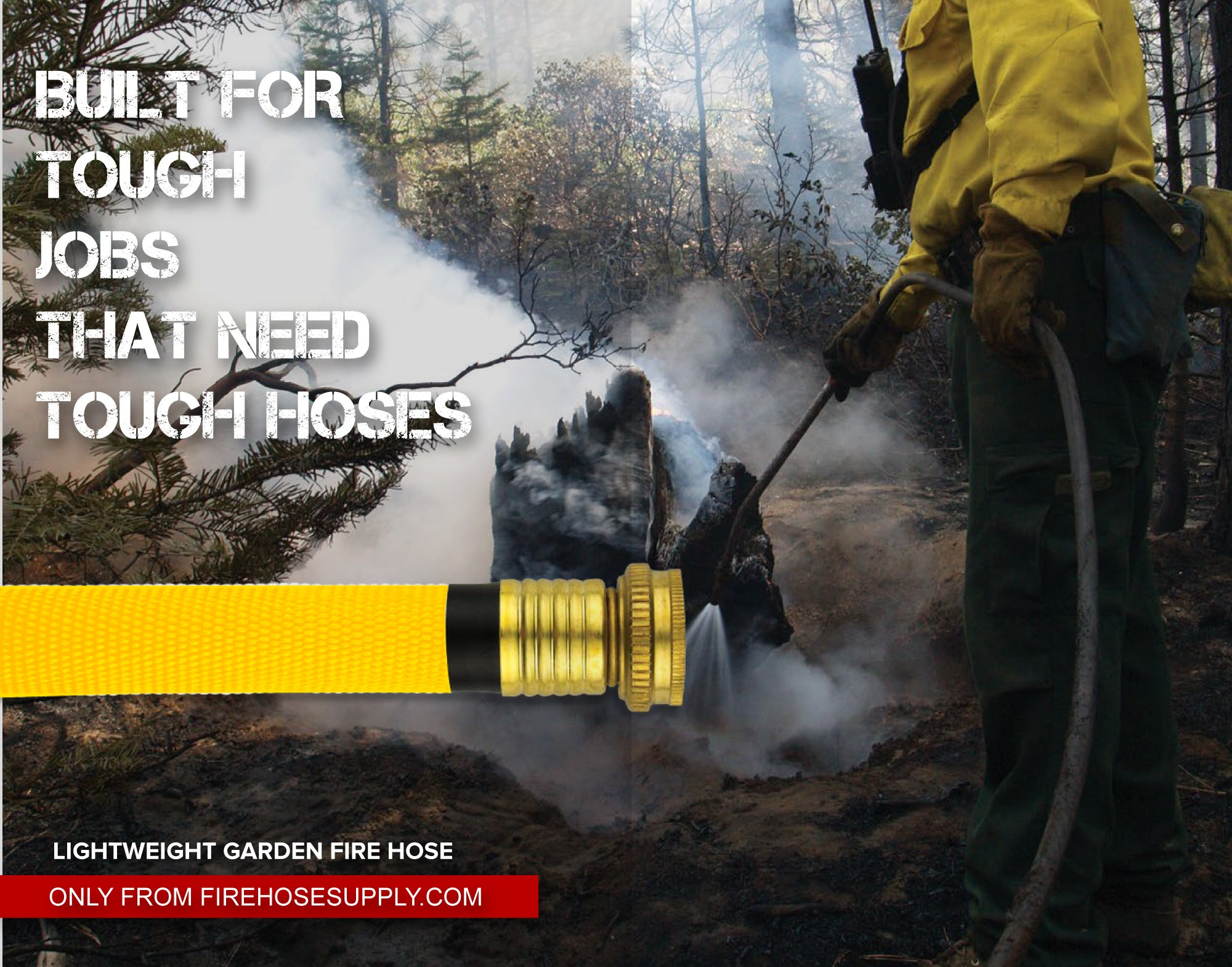 Yellow Garden Fire Hose In Action