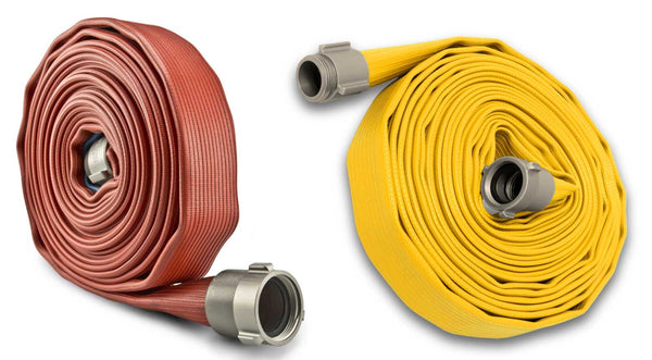 red and yellow rubber fire hose