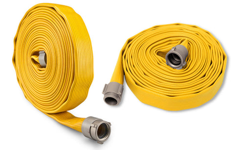 yellow rubber fire hoses