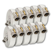 "1 1/2"" x 100 Feet Single Jacket Camlock Hose White (Aluminum) 10 Pack:FireHoseSupply.com"