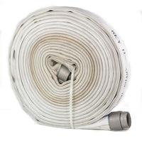 "1.75"" Double Jacket Fire Hose With 1.5"" NH Couplings:White / NH/NST - National Hose / 50 Feet:FireHoseSupply.com"
