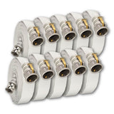 "1"" x 50 Feet Single Jacket Camlock Hose White (Aluminum) 10 Pack:500 Feet (Qty 10 x 50 Feet Lengths) Bulk Discount:FireHoseSupply.com"