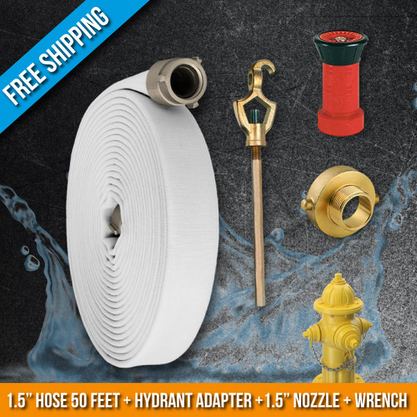 Fire Hydrant Hose Emergency Kit:50 Feet Fire Hose + Adapter + Wrench + Nozzle:FireHoseSupply.com