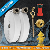 Fire Hydrant Hose Emergency Kit:100 Feet Fire Hose + Adapter + Wrench + Nozzle:FireHoseSupply.com