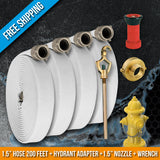 Fire Hydrant Hose Emergency Kit:200 Feet Fire Hose + Adapter + Wrench + Nozzle:FireHoseSupply.com