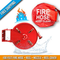 Residential & Commerial Swinging Fire Hose Reel Kit With Cover:100 Feet Fire Hose + Reel + Nozzle + Cover:FireHoseSupply.com