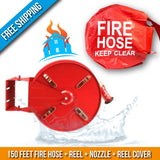 Residential & Commerial Swinging Fire Hose Reel Kit With Cover:150 Feet Fire Hose + Reel + Nozzle + Cover:FireHoseSupply.com