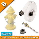 "Fire Hydrant Hose Package:(B) - 1.5"" Inch Hydrant Hose 50 Feet + 2.5"" to 1.5"" Adapter + Hydrant Wrench:FireHoseSupply.com"