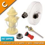 "Fire Hydrant Hose Package:(C) - 1.5"" Inch Hydrant Hose 50 Feet + 2.5"" to 1.5"" Adapter + Hydrant Wrench + Nozzle:FireHoseSupply.com"