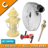 "Fire Hydrant Hose Package:(C) - 2.5"" Inch Hydrant Hose 50 Feet + Hydrant Wrench + Nozzle:FireHoseSupply.com"