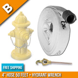 "Fire Hydrant Hose Package:(B) - 4"" Inch Hydrant Hose 50 Feet + Hydrant Wrench:FireHoseSupply.com"