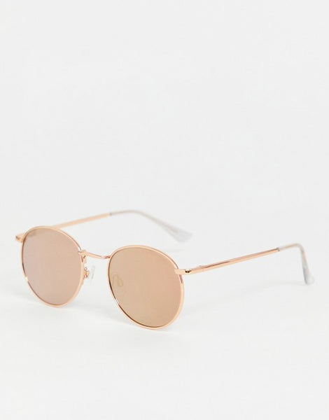 Rose Gold Round Framed Sunglasses