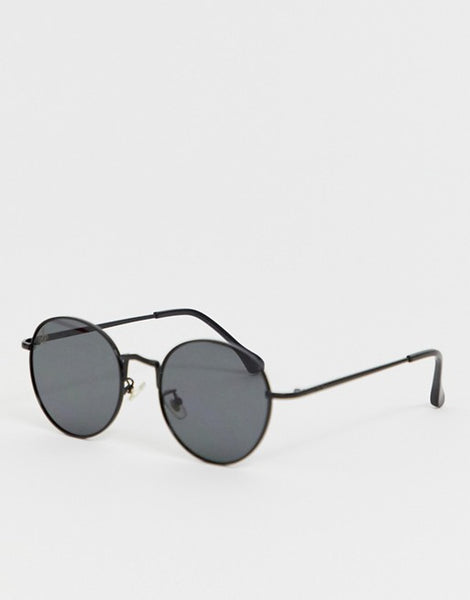 Black Round Framed Sunglasses