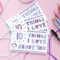 Share your love with someone in a meaningful way with these I love you cards! The 10 Things I Love About You printable card set is a great way to share your love any time of the year!
