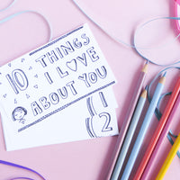You'll receive three designs for this printable, including a black and white version that you can color yourself! Share your love with this cute I love you card printable set!