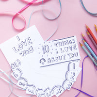 Have fun coloring your own 10 Things I Love About You printable set! You'll get a black and white version along with two full color options when you order your I love you cards printable.