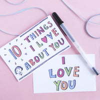 Each of the cards in the 10 Things I Love About You printable set has a large hand-drawn number in the corner and plenty of space for you to write you sentiment. A great gift for moms, dads, lovers, and kids too!