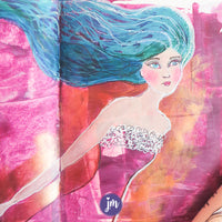 Get this gorgeous printable background (seen in the dress) for your art journal! Oh my goodness, I love the depth and swirl of color in this one! Magenta and copper, oh my! After printing your art journaling collage paper, tear it up to layer and collage, cut it in specific shapes (to create clothes or hair, for example) or do whatever your inspired heart desires!