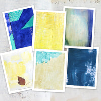 Here are more examples of the art journal collage papers by Jennie Moraitis; these are inspired by sunshine and the ocean! Download, print, and start using these lovely papers today!