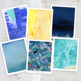 Here are some examples of the ocean inspired printable art journal backgrounds from Jennie Moraitis. So luscious and textured!