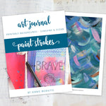 Oh how I love these beautiful ocean inspired printable art journal backgrounds! Moody blues, waves and swirls, plus pops of color to brighten your layout . . . what more could you ask for? Art journaling bliss in collage paper form!