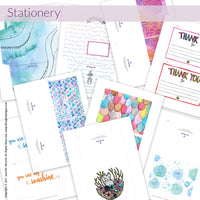You'll get 47 pieces of cute printable stationery in the 10 Minute Letter Writing Retreat!