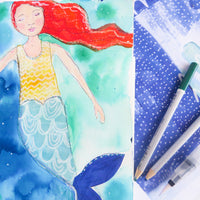 "Even mermaids love art journal collage papers! Here's a picture of a mermaid ""wearing"" some printable backgrounds from the Sunshine and Ocean collection. So sweet!"