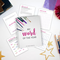 Choose your word of the year with this printable workbook! You'll also have space to track and go back to your word throughout the year. Choosing your one word will help clarify your goals and help you to grow!