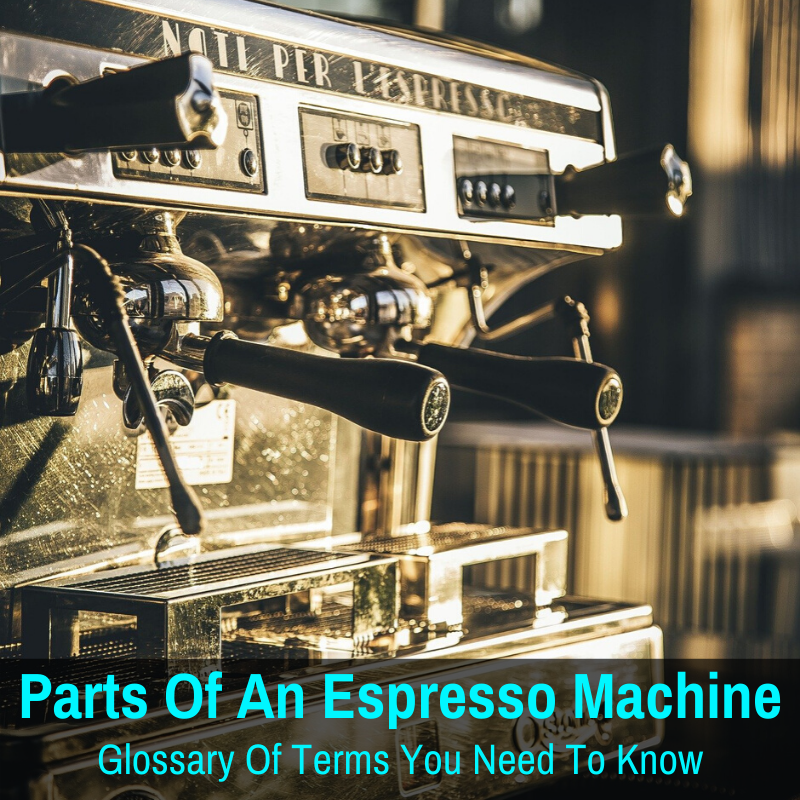 Espresso machine with many parts