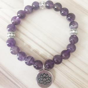 Image of Handmade Natural Amethyst Stone Mala Bead Bracelet - 3 Charms