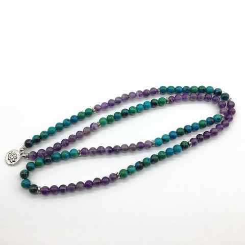 Natural Amethyst and Chrysocolla Mala Beads Bracelet